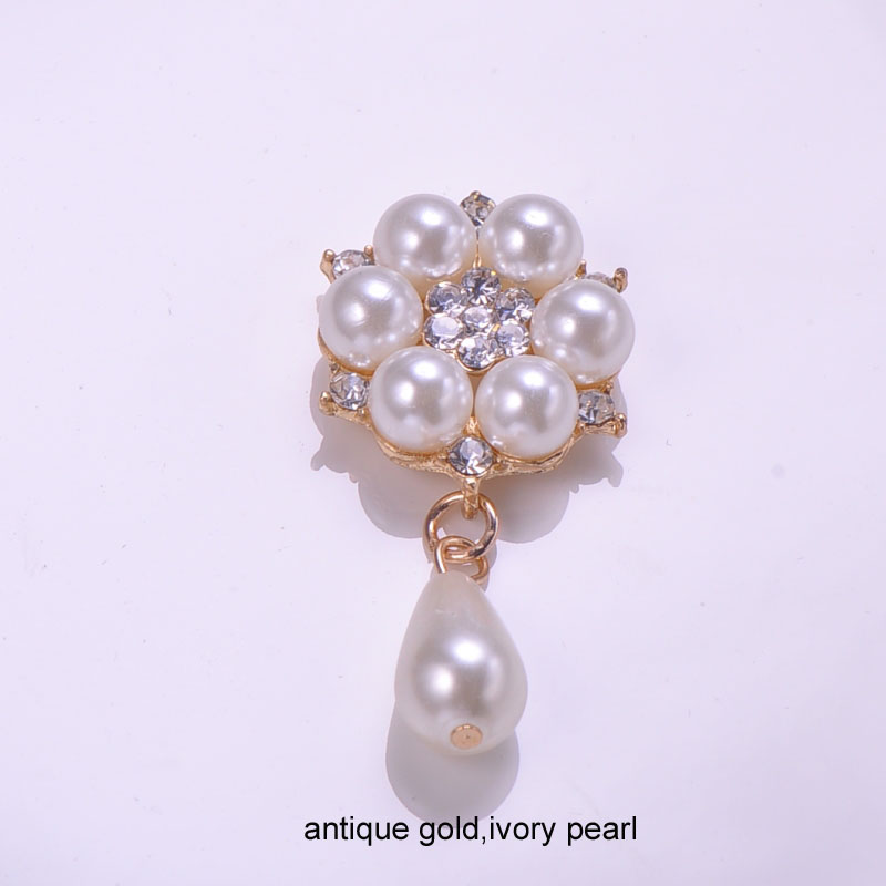 M0842 25mmx42mm rhinestone embellishment with droplet pearl pure white or ivory pearl silver plating flat