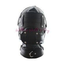 Soft Pu Leather Mask Bondage Hood With Adjustable Dildo Gag Blindfold Fetish Cosplay Slave Mask Adult Game Sex Toys For Couples