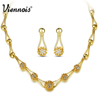 Viennois New Flower Gold Plated Jewelry Sets Women Chain Necklace Earrings Set Party Fashion Statement Jewelry