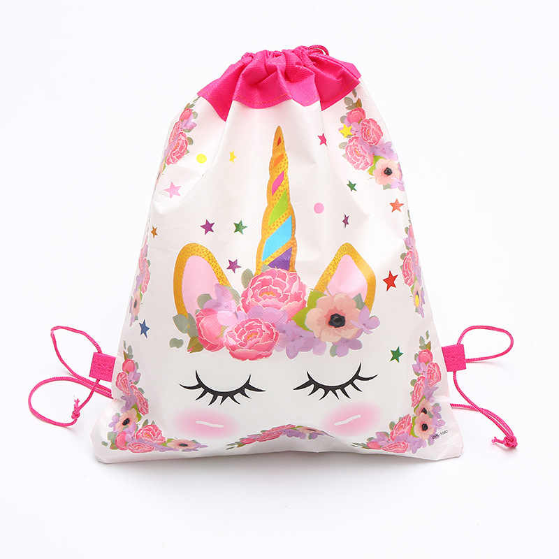 1 sztuk jednorożec motyw z okazji urodzin Party Cartoon sznurek torba szkolne plecak dla chłopca dziewczyna tornister pakiet plecak