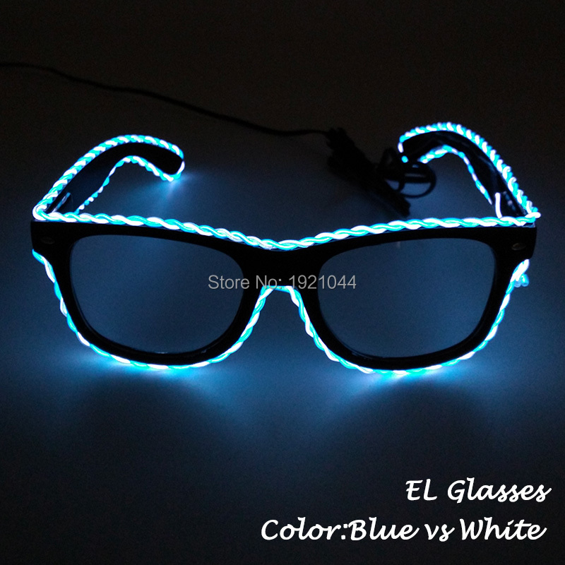 New arrival Double color EL Wire Glowing Glasses light up Glasses for Glow Party Supplies with 3V Steady on Inverter