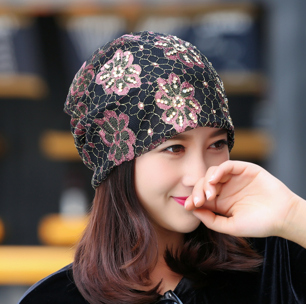 girl women brand hat lace luxury floral beanie hats custom design rhinestone flower style casual spring autumn woman winter hats