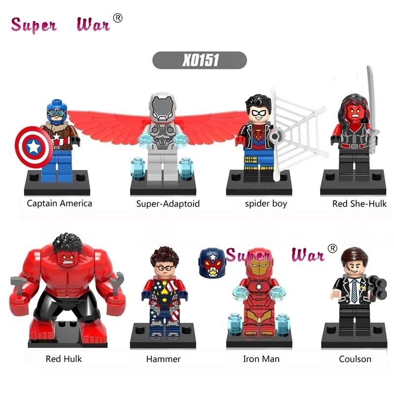 80pcs starwars super heroes Spider She-hulk Iron Man Hulk building block brick friends for games kids children toys