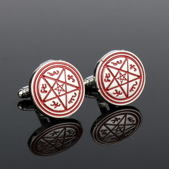 MOCHUN Movie Accessories Jewelry Forces Of Evil Pentagram Five-Pointed French Shirts Cufflinks Cuff Button Pins For Men Gift-20 image