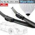 Limpador de Janela Do Veículo do carro Macio Rubbe Windshield Bracketless Wiper Blade 1 Par Para Kia Rio 2011-2016