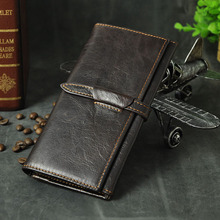 Quality Hot Sale Cattle Male Fashion Long Bifold Real Genuine leather Card Coin