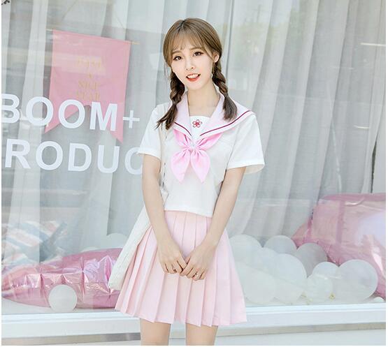 Japanese JK Style Pink women School Uniform Dress Girls Sakura Embroideried High School Chorus dress Women Sailor Suits Uniforms