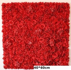 Image 4 - 60X40CM Artificial Silk Rose Flower Wall Wedding Christmas Decoration Decorative Silk Hydrangea Wedding Decoration Backdrop