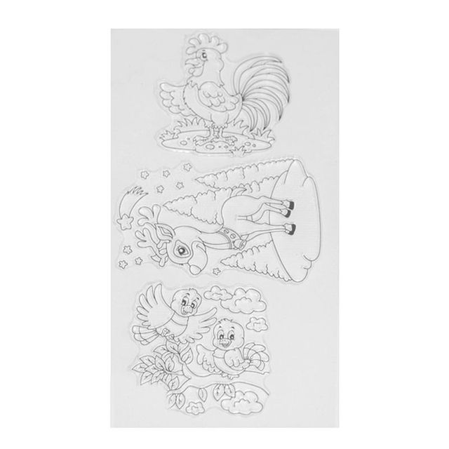 DIY Catoon Animal Silicone Painting Stencil With Little Chicken Rooster Pattern Grain As Stamps Album Decorative Template Drawin