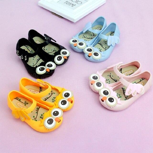 7c7fd38c912b 2017 kids Girls sandals jelly shoes Satin bow PVC soft outsole children  sandals boys Rain boots-Owl
