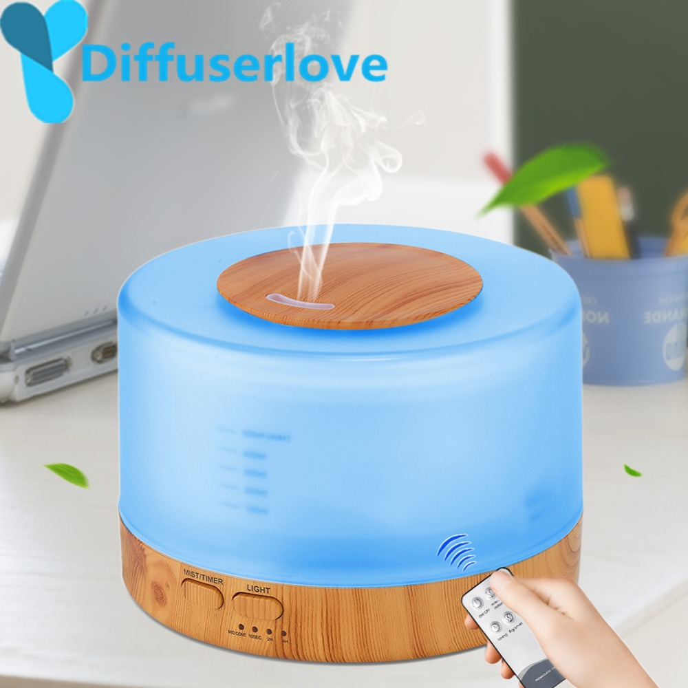 Diffuserlove 500ml Humidifier Remote Control Essential Oil Diffuser  Cool Mist Humidifier EU AU UK US Plug Air Humidifier(China)