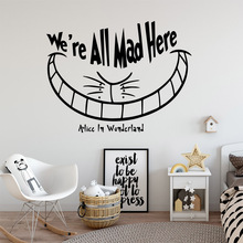 Fashionable we are all mad here Wall Art Decal Stickers Pvc Material Decor Living Room Mural Bedroom Decoration