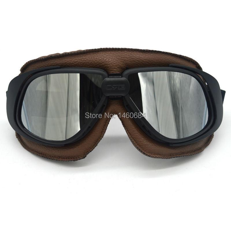 Evomosa Brown Leather Goggles Glasses Wwii Raf Vintage Pilot For Harley Motorcycle Custom Biker Cruiser Helmet Cafe Racer ATV