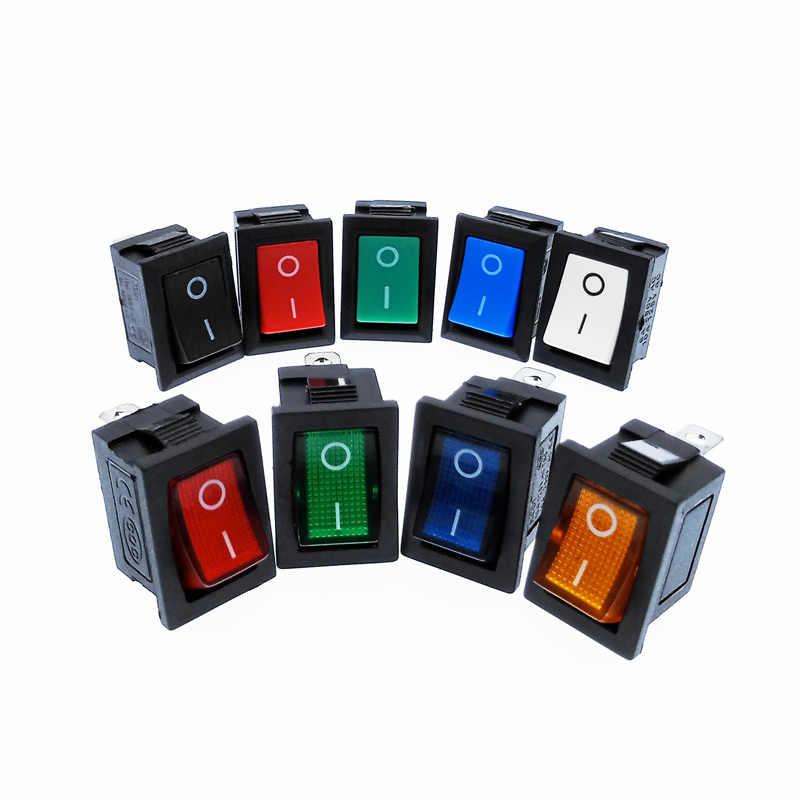 Interruptor basculante KCD1 2 posiciones 2 pines 3 pines 4 pines con luz 10A 250V rojo azul verde amarillo negro blanco