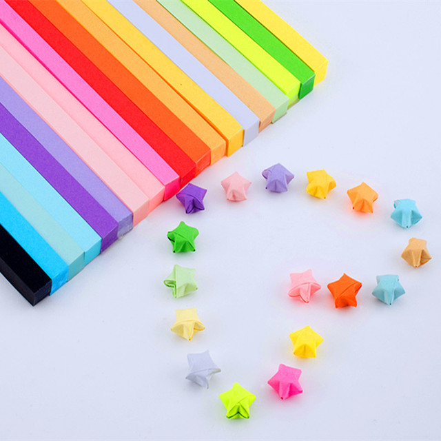 About 90Pcs Strips Handcraft Origami Lucky Star Paper Quilling Decoration