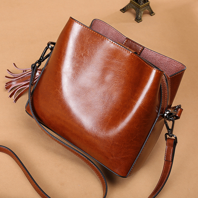 Genuine Leather Bags For Women Crossbody Shoulder Bag Luxury Handbags Designer Bucket Purse Sac A Main