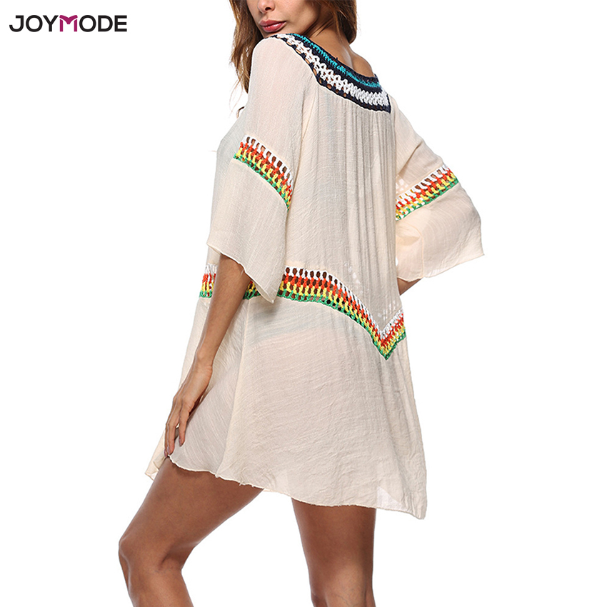 JOYMODE Honeymoon Dress Beach Cover ups Swim Dress Tunic Pareos Swimwear Robe Women Bikini Skirt Swimsuit Summer Praia De Croche
