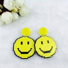 New Fashion Acrylic Fluorescent Yellow Acrylic Smile Stud Earrings For Women Night Club Singer Jewelry Accessories(China)