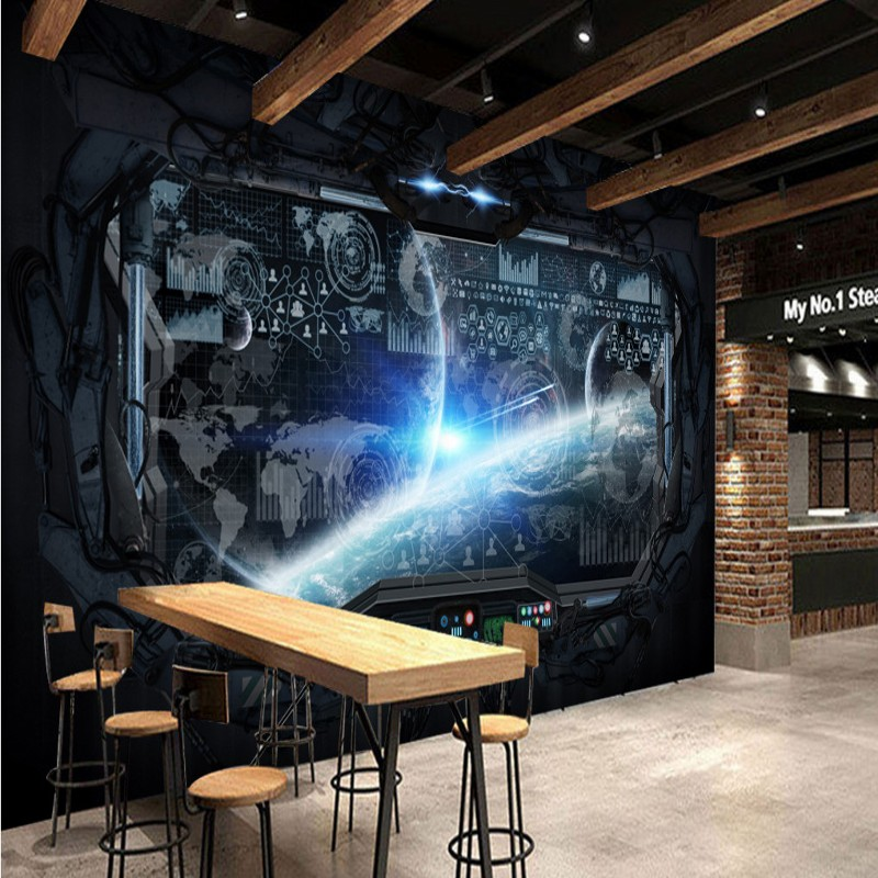 . US  16 37  photo wallpaper 3D Stereo gaming room mural Cosmic Space Cabin  Spacecraft mural Restaurant Mural bar KTV high quality Wallpaper  in