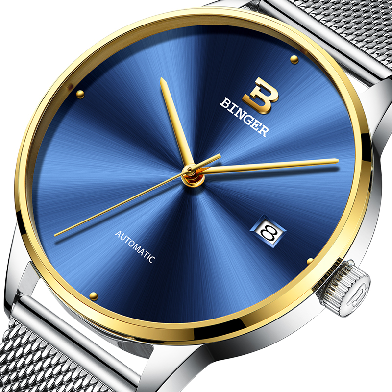 2018 New BINGER Mens Watches Brand Luxury automatic mechanical Men Watch Sapphire Wrist Watch Male relogio