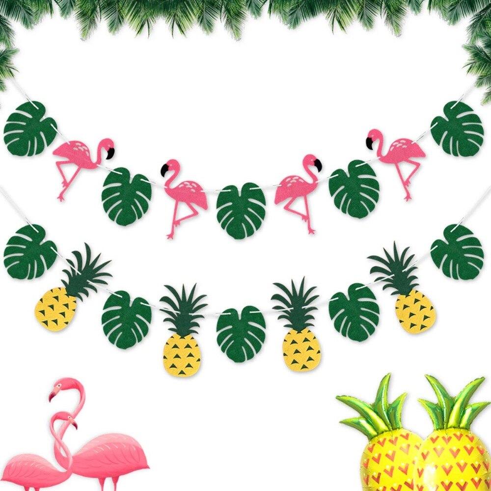 Hawaiian Tropical Banner Garland Palm Leaf Flower Summer Luau Beach Party Decor