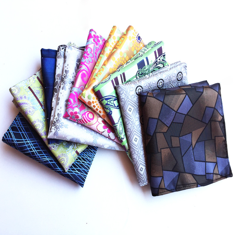 Luxury Men's Handkerchief Polka Dot Striped Floral Printed Hankies Polyester Hanky Business Pocket Square Chest Towel 25*25CM