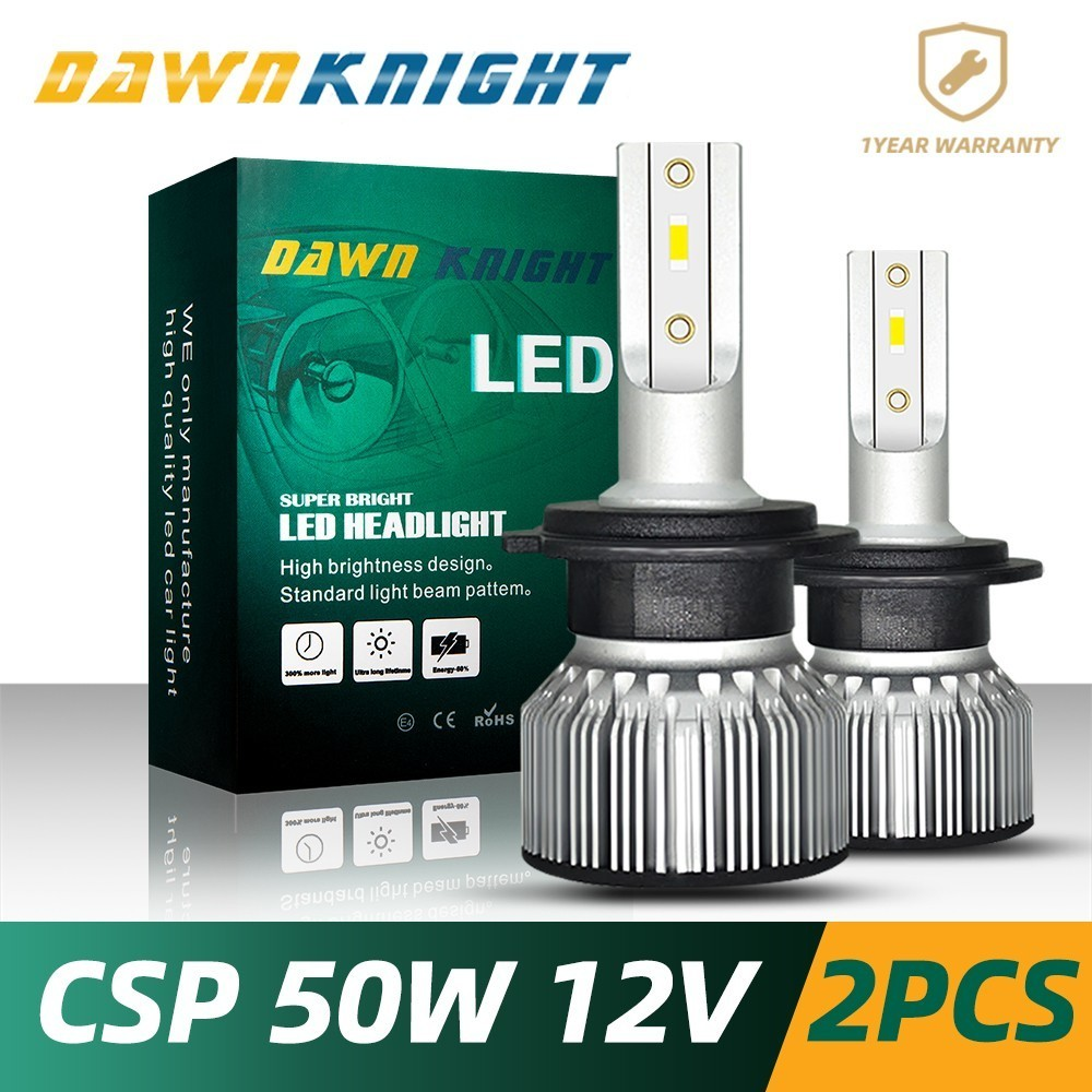 DAWNKNIGHT 2PCS H7 Led Bulb CSP CHIP Turbo 9000LM 6000K Mini Size H4 H1 H3 H8/H9/H11 H27/880 9005/HB3 9006/HB4 D2S(R/C) F3 LED