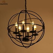 Iluminación LED de araña Industrial moderna lámpara lampadari colgante de globo de Metal jaula de bola Vintage decoración Industrial accesorios de iluminación