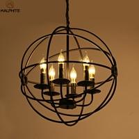 Modern Industrial LED Chandelier Lighting Metal Globe Hanging lampadari lamp Vintage Ball Cage deco Industrial Lighting Fixtures