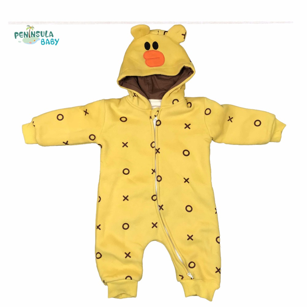 2017 Cute Animal Girl Winter Clothes Baby Rompers Long Sleeve Double Zipper Cotton Cartoon Design Hooded Baby Clothes Jumpsuit 6003 aosta betty baby rompers top quality cotton thickening clothes cute cartoon tiger onesie for baby lovely hooded baby winter