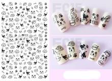 1pcs 3D Super Thin Nail Stickers Tips Nail Art Adhesive Decals Manicure Decoration Black Cute Pussy Cat Pet Nail Wraps F015b