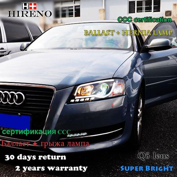 Hireno Car styling Headlamp for 2008-2012 Audi A3 Headlights LED Headlight Assembly DRL Angel Lens Double Beam HID Xenon 2pcs