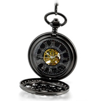 Luxury Brand Men Pocket Watch Fashion Black Skeleton Mechanical Hand Wind Pocket Watches Fob Watches With Chain Necklace