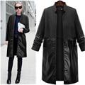 Мода 2017 весна осень Женщины большой размер длинный абзац шерстяные pu Лоскутное Пальто женские большие карманы Ветровка Тренчи