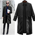Fashion 2017spring autumn Women large size long paragraph woolen pu Patchwork Coat female big pockets Windbreaker Trench clothes