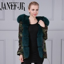 Wholesale fox fur parka winter coat long sleeve with hooded army coat with green faux fur lining long jacket