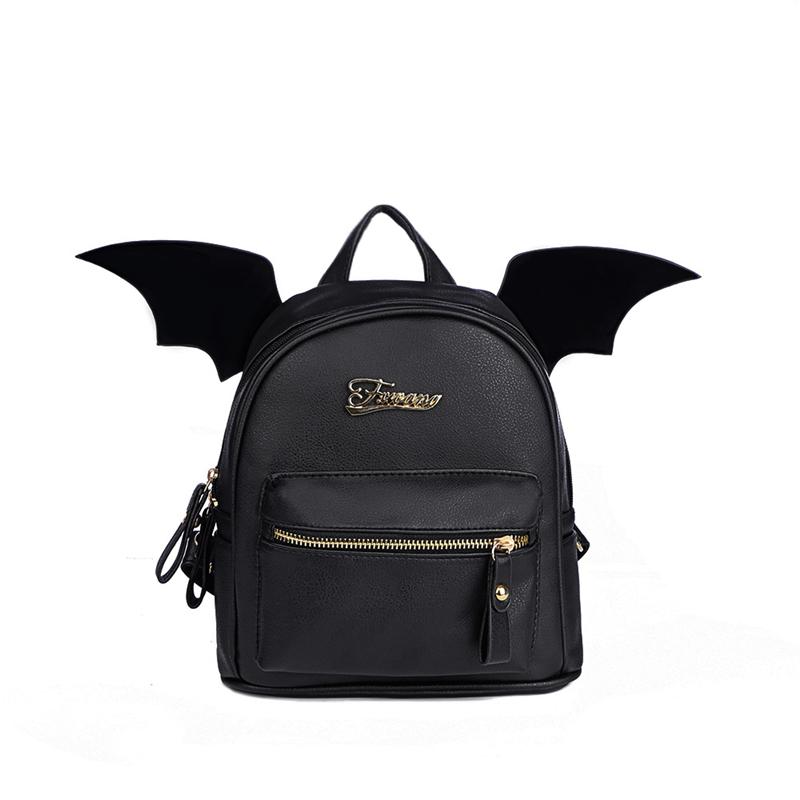 32005f18b Bat Wings Backpack Punk Stylish for Teenage Girls Cute Little Devil Package  Black Cartoon Rucksack Mini BackpacksPU Leather for Women Backpack Little  Devil ...