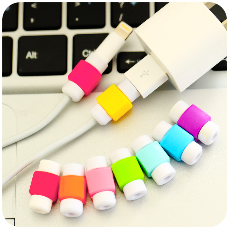 New Fashion USB Cable Earphones Protector Colorful Cover Case For Iphone 6 6s 8 X 7 7plu ...