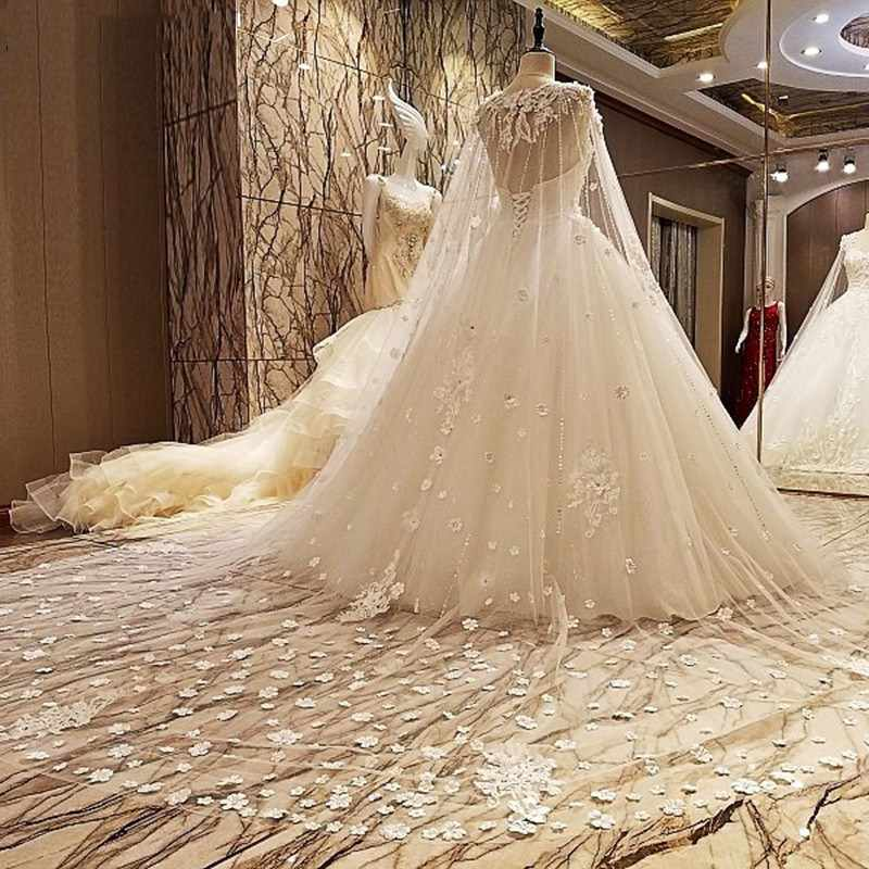 תמונה אמיתית יוקרה חתונה שמלות 2019 Vsetido דה Novia עם צעיף קייפ גבישי תחרה ואגלי אפליקציות לטאטא רכבת שמלות כלה