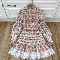 Truevoker Spring Designer Set Women S Noble Fancy Floral Printed Lace Patchwork Crop Top With High