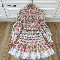 Truevoker Spring Designer Set Women S Noble Fancy Floral Printed Lace Patchwork Crop Top With High