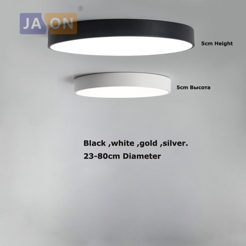 LED moderno de hierro Acryl 5 cm redondo fino negro blanco oro plata LED lámpara de iluminación LED llevó la lámpara para el vestíbulo