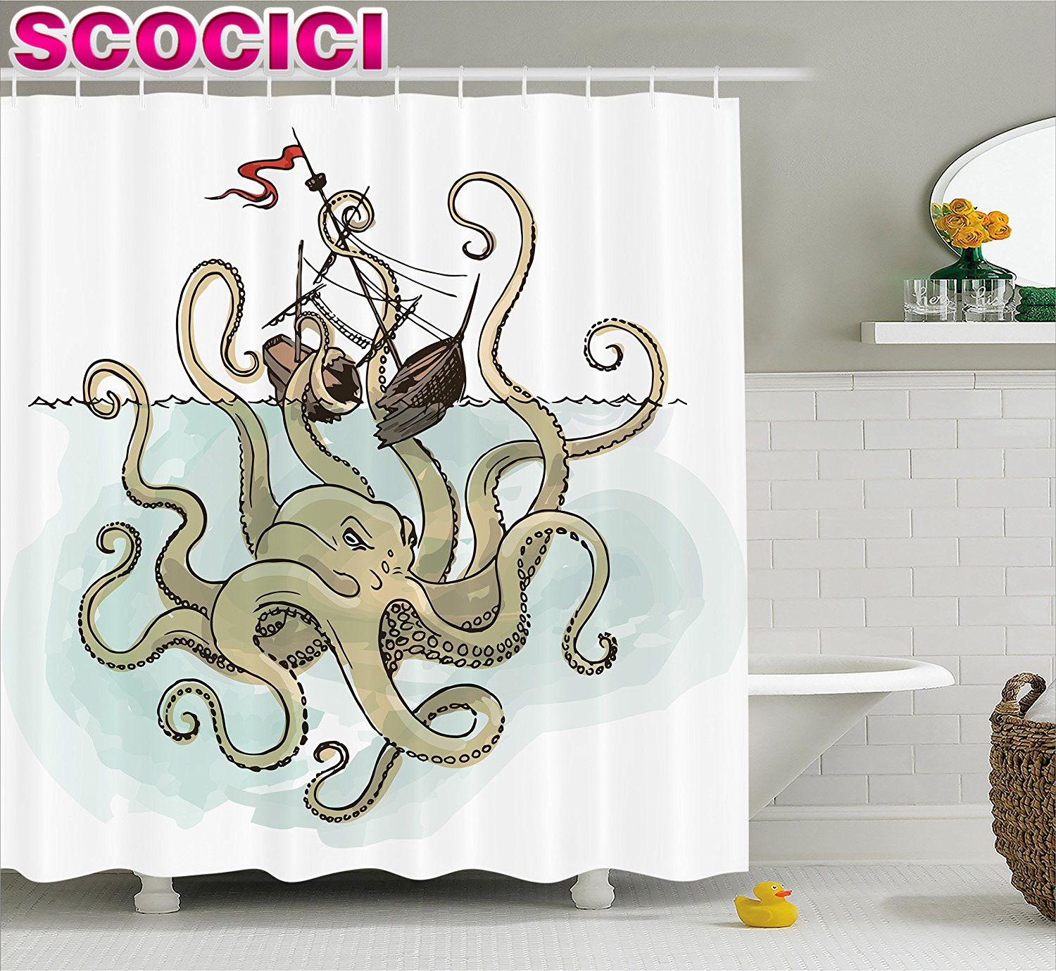 Pirate bathroom decor - Kraken Decor Shower Curtain Octopus Sinking The Pirate Ships Greek Myth Fish Culture Cartoon Art Image Fabric Bathroom Decor Set