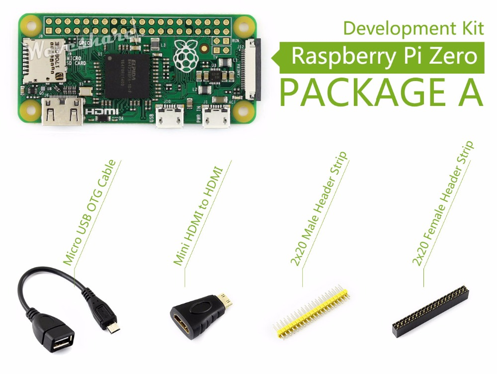 Parts Raspberry Pi Zero Package A Basic Development Kit Mini HDMI to HDMI Adapter Micro USB OTG Cable and 2x20-pin pinheader str raspberry pi zero w basic starter kit raspberry pi zero 16g sd card power adapter acrylic case hdmi cable