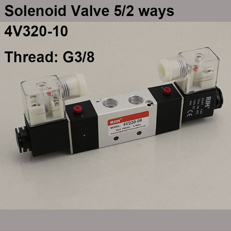 G3/8 4V320-10 2 Position 5 Way Air Solenoid Valves Pneumatic Control Valve , DC12v DC24v AC 24v AC110v 220v dc 12v single head 2 position 5 way 5 pneumatic solenoid valve w base aywvu