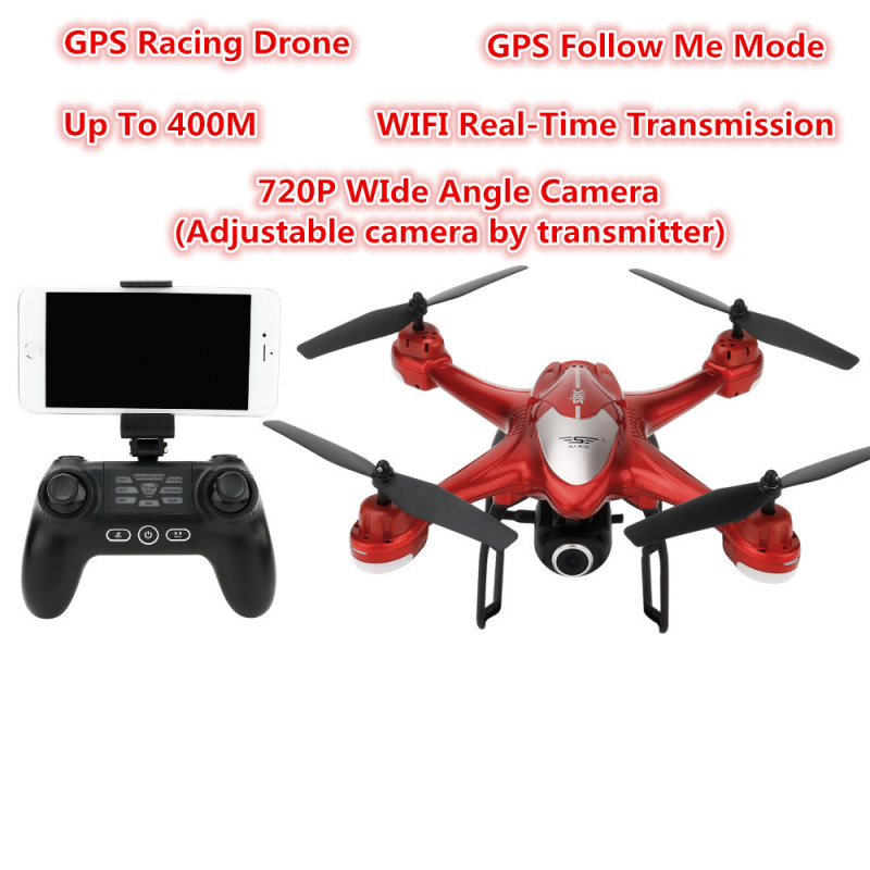 Professional WIFI FPV GPS Follow me RC Drone 2.4G 720P adjust Wide angle Camera GPS Positioning RC Quadcopter Model vs H55 h47 image