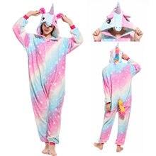 2019 взрослых унисекс кигуруми пижамы единорог для женщин животных ночная  рубашка теплый мягкий синий Стич Ночное c97bcb365ad69