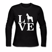 Casual Ladies Love Horses Print T Shirts O Neck Long Sleeve T Shirt Femme Top Tee