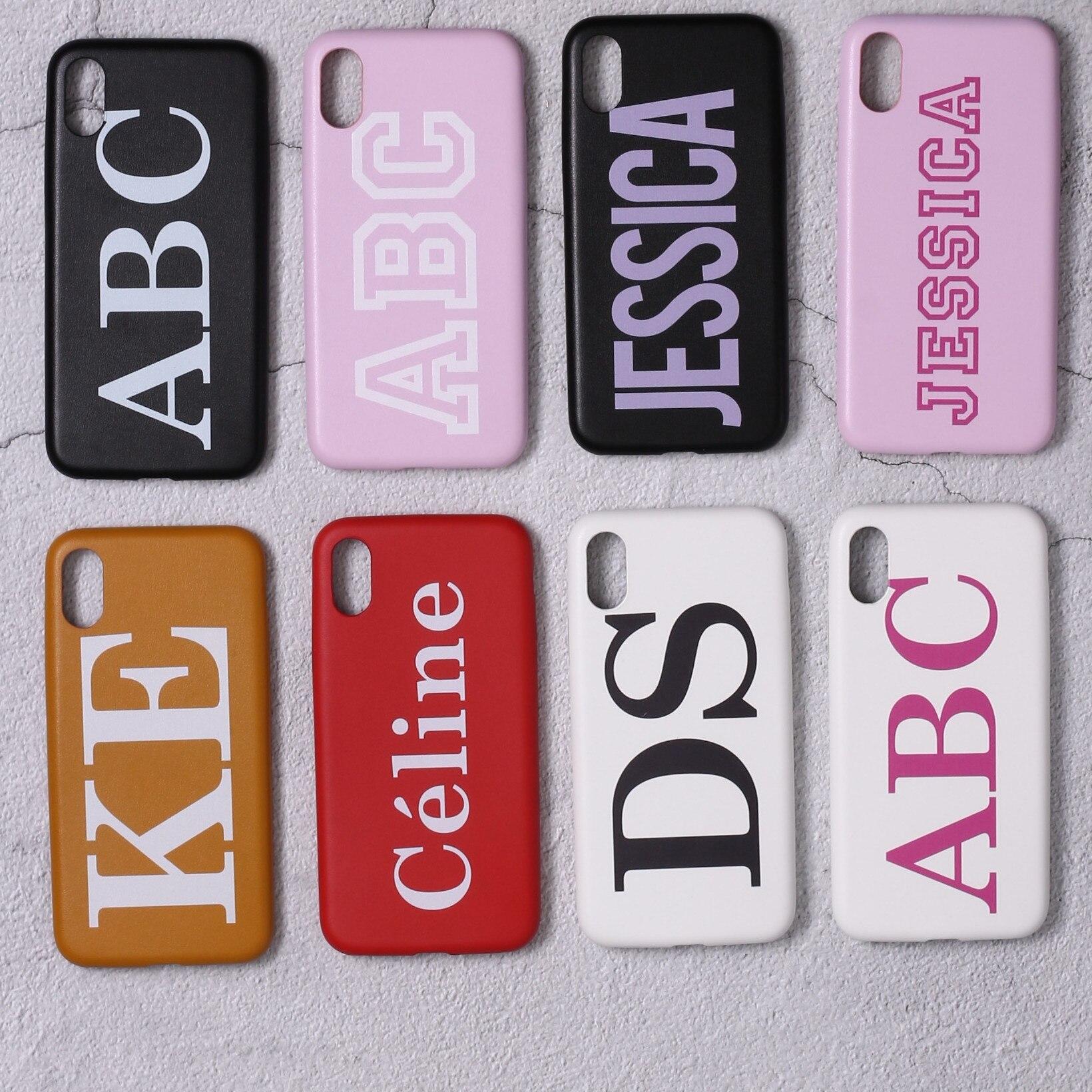 Настоящая кожа, роскошный, смелый, на заказ, с именем, текст, начальный чехол для телефона, чехол, Coque Funda для iPhone 11 Pro X 6S XS Max 7 7Plus 8Plus