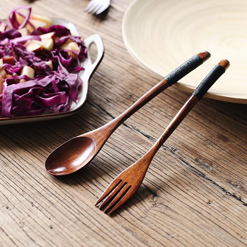 Wooden Dinnerware Set Japanese Style Wood Spoon Fork Chopsticks Set Long Handle Soup Spoon Salad Fork Portable Picnic Cutlery Set (2)